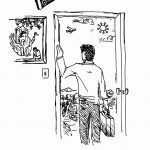 illustration of Bryce with suitcase leaving home