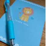 light blue card with light blue pen