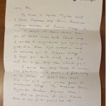 photo of letter from Professor Miyake to Ben