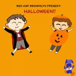 cartoon images of Ben and Brandolyn in Halloween costumes