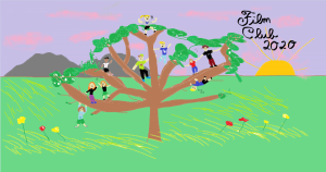painted tree with people in branches