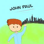cartoon image of John Paul with New York City skyline in background