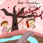 Cartoon images of Ben and Brandolyn shooting Cupid's arrow for Valentine's Day