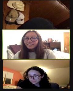 three students on zoom