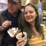 Dede and her dad with Bert & Rocky's ice cream