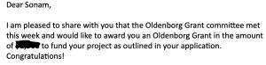 copy of email awarding Sonam an Oldenborg grant